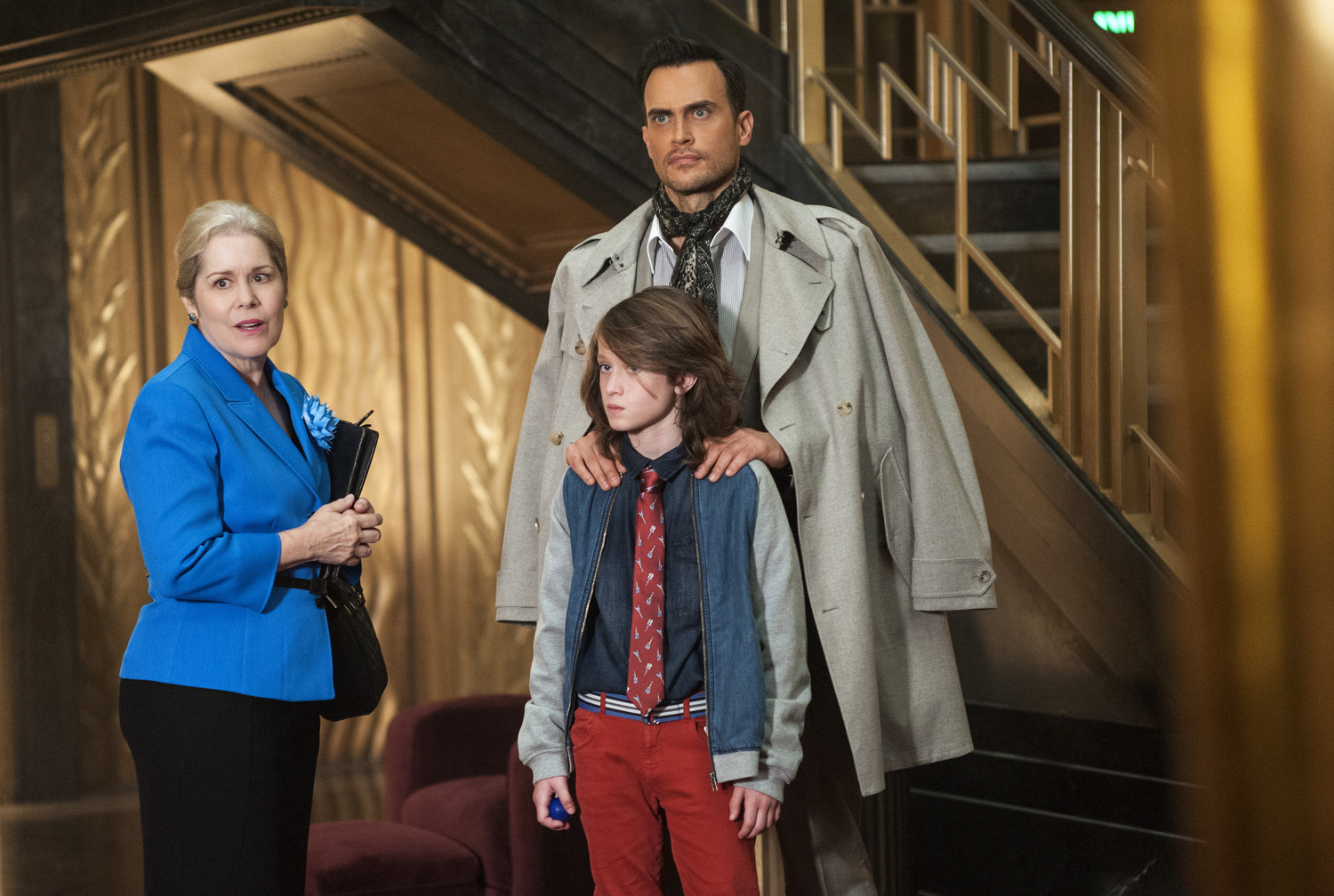 "AMERICAN HORROR STORY -- ""Checking In"" Episode 501 (Airs Wednesday, October 7, 10:00 pm/ep) Pictured: (clockwise from left) Christine Estabrook as Marcy, Cheyenne Jackson as Will Drake, Lyric Lennon as Lachlan Drake. CR: Suzanne Tenner/FX"