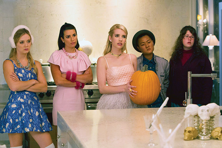 "SCREAM QUEENS: Pictured L-R: Billie Lourd as Chanel #3, Lea Michele as Hester, Emma Roberts as Chanel Oberlin, Jeanna Han as Sam and Breezy Eslin as Jennifer in the ""Haunted House"" episode of SCREAM QUEENS airing Tuesday, Oct. 6 (9:00-10:00 PM ET/PT) on FOX. ©2015 Fox Broadcasting Co. Cr: Hilary Gayle/FOX."