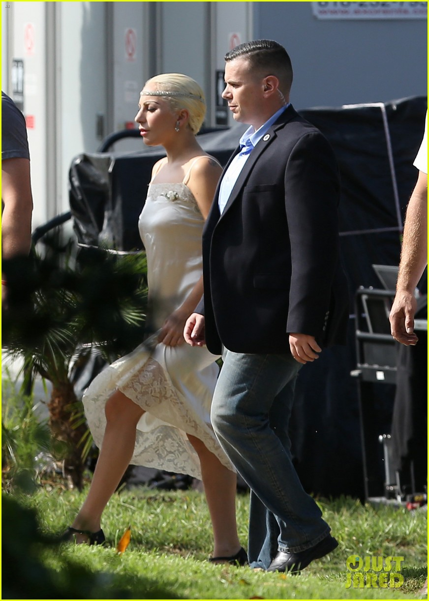 Los Angeles, CA - Actress, Lady Gaga, in a silk and lace gown and tiara as she makes her way to the 'American Horror Story' set. AKM-GSI October 22, 2015 To License These Photos, Please Contact : Steve Ginsburg (310) 505-8447 (323) 423-9397 steve@akmgsi.com sales@akmgsi.com or Maria Buda (917) 242-1505 mbuda@akmgsi.com ginsburgspalyinc@gmail.com